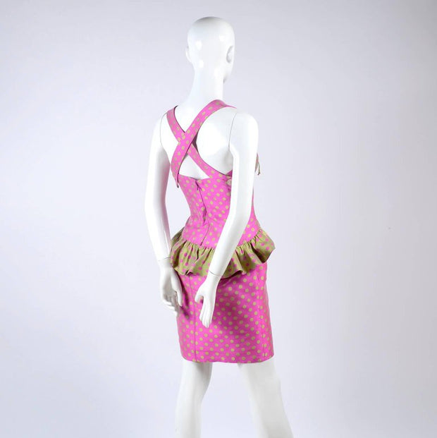 Christian Lacroix Vintage Polka dot gathered bust dress with peplum