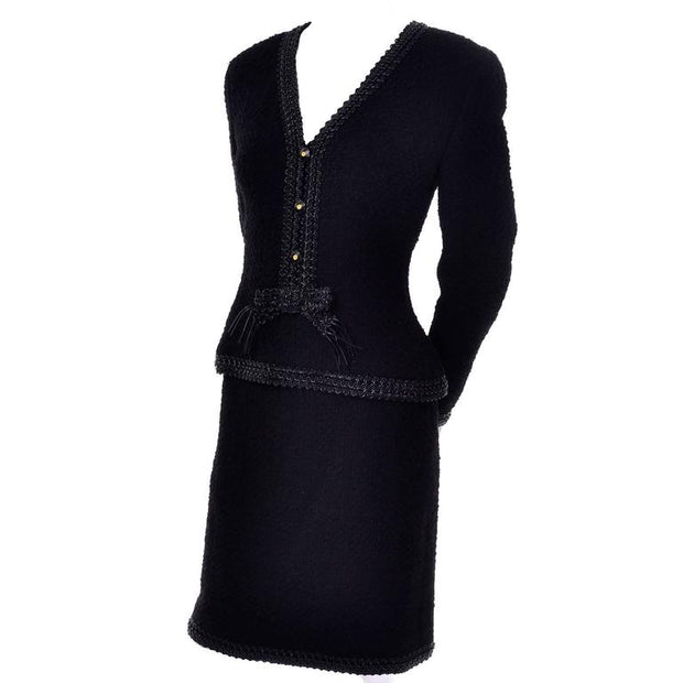 1990's black wool boucle Chanel designer skirt suit - documented F/W 1994