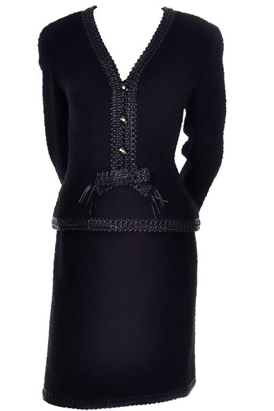 1994 Chanel black boucle wool skirt suit with plastic trim