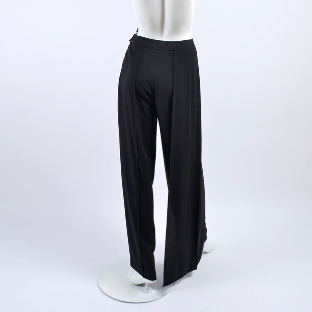 Chanel black wool pants with flyaway panel