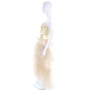 1990s Thierry Mugler Couture Gold Leather Corset Top & Tulle Skirt 2/4