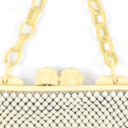 Whiting and Davis Metal Mesh Handbag with Celluloid Chain LInk Handle