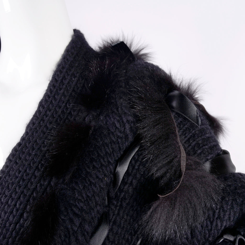 F/W 2002 Tom Ford for Gucci black wool and fox fur runway sweater jacket