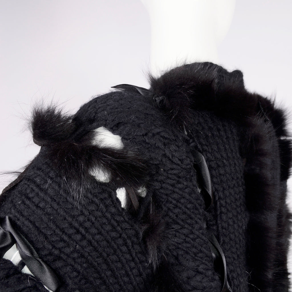 F/W 2002 Documented Tom Ford for Gucci black wool and fox fur open knit sweater jacket