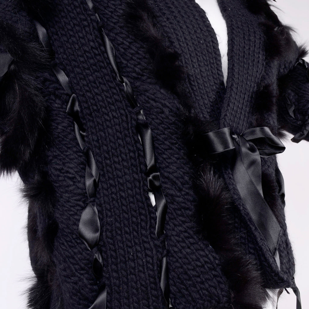 F/W 2002 Documented Tom Ford for Gucci black wool and fox fur sweater jacket ribbon tie