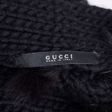 F/W 2002 Documented Gucci black wool and fox fur sweater jacket made in Italy