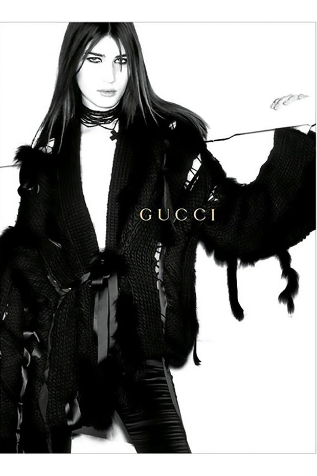 Eugenia Volodina shot by Mario Testino in fox fur wool sweater jacket for Gucci 2002