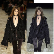 Fall/Winter 2002 Gucci runway photo of black chunky wool sweater jacket w/ Fox Fur