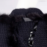 F/W 2002 Documented Tom Ford for Gucci black wool and fox fur sweater