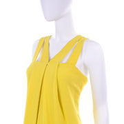 Double Strap Oscar de la Renta Summer Evening Gown in Yellow Chartreuse