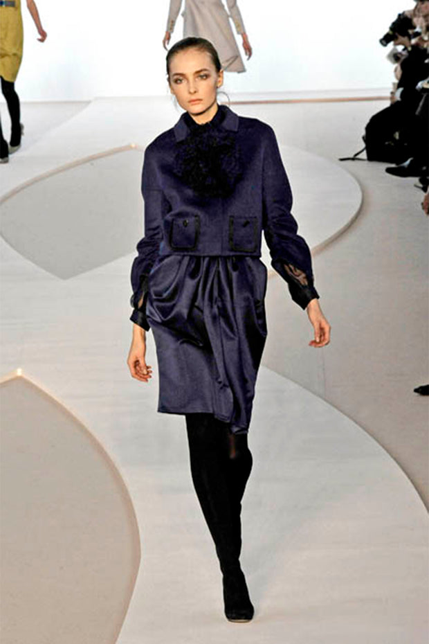 F/W 2008 Valentino runway deep blue silk blouse and skirt