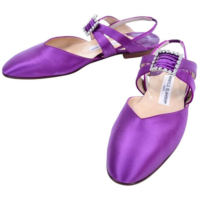 Purple satin Manolo Blahnik ballet flats from the 1980's