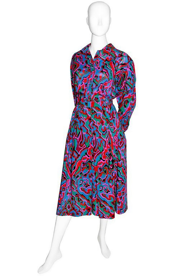 Vintage YSL outfit with abstract colors - matching blouse and skirt make a beautiful vintage dress when worn together.