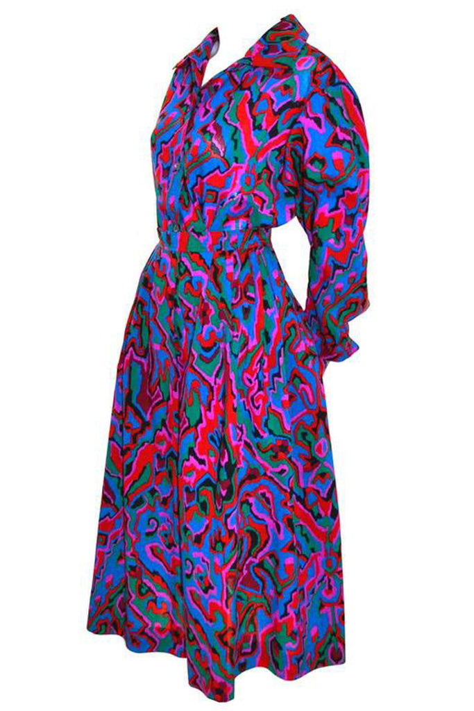 Yves Saint Laurent vintage 1970's abstract colorful skirt and blouse two piece dress