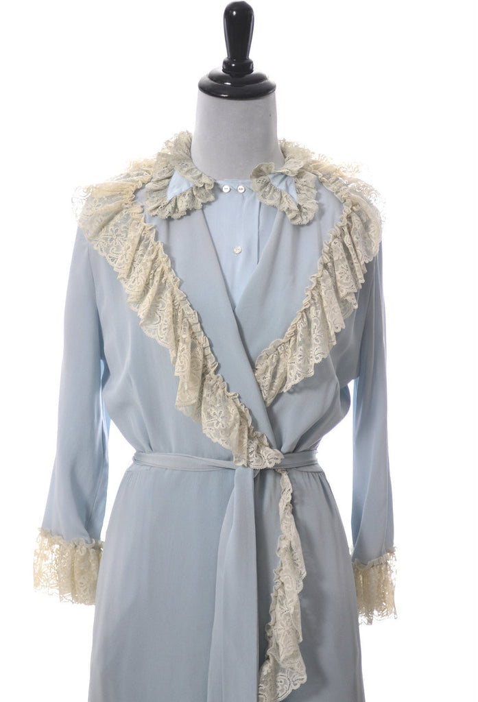 vintage blue nightgown and robe Iris Lingerie co