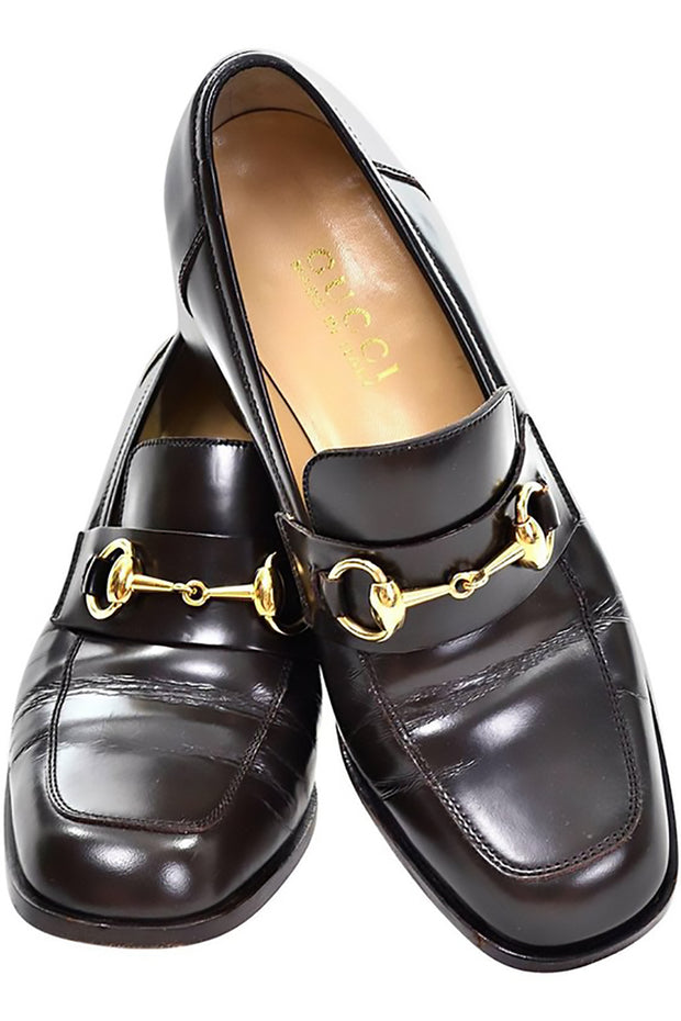 6d9a98fc0ae Gucci 7.5 loafers brown leather with gold hardwear. Horsebit brown leather  loafers with block heel ...