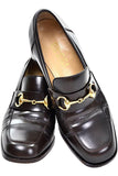 Gucci 7.5 loafers brown leather with gold hardwear
