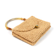 1960s Koret Double Sided Woven Jute Handbag w/ Bamboo Top Handle
