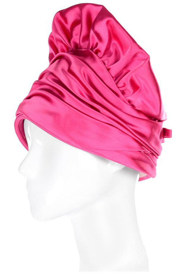 1960's Pink Satin Flounce Hat with Gathered Top