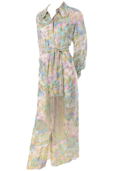Nat Kaplan Couture Pastel and Paisley Long Kaftan Dress