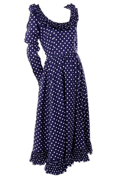1970s Victor Costa Blue & White Polka Dot Midi Dress w/ Ruffles