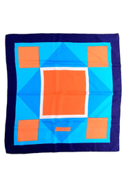 YSL Yves Saint Laurent Vintage Silk Scarf w/ Blue Orange & White Geometric Print