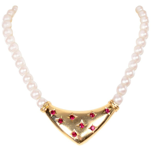 Yves Saint Laurent Signed YSL Vintage Pearls Gold Tone Bib Necklace w Red Stones