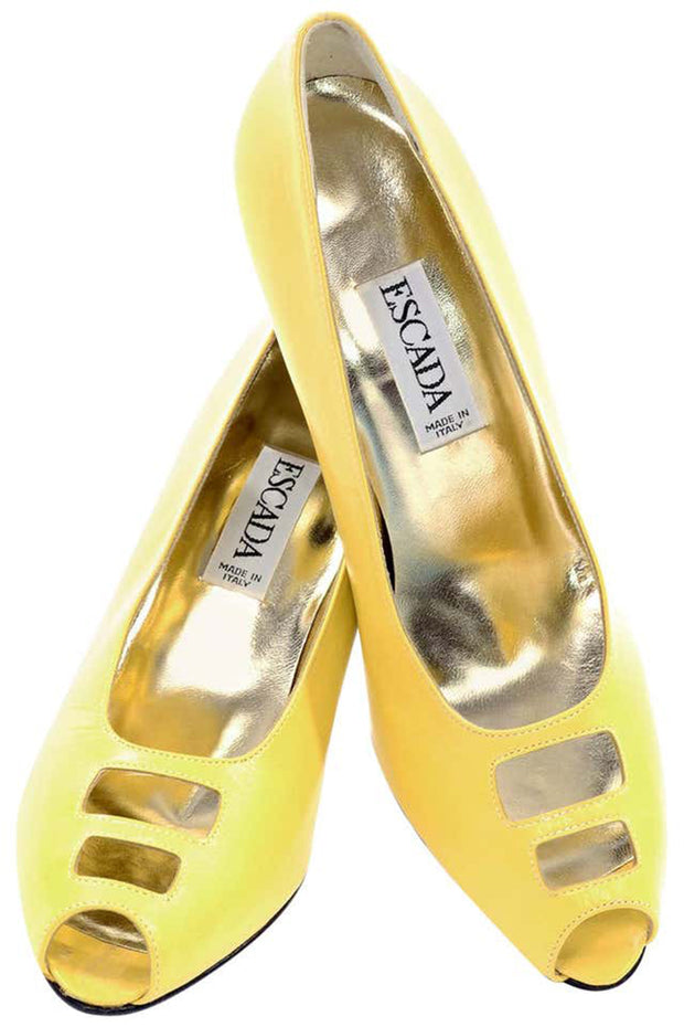 1980s Escada Yellow Vintage Shoes Peep Toe Heels Never Worn 7.5AA