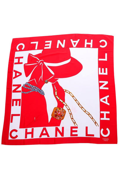 1990s Chanel Red & White Silk Scarf W/ Woman in Hat Earrings & Pearls