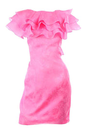 1980s Morton Myles Hot Pink Silk Ruffled Organza Dress