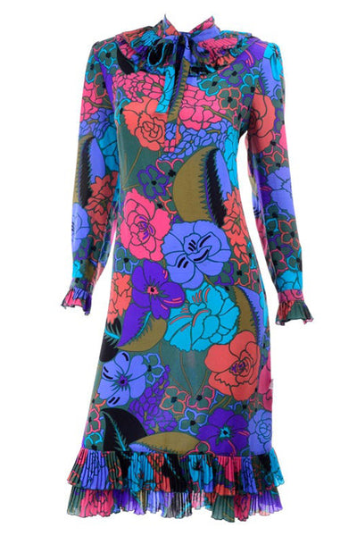 Louis Feraud Bold Floral Dress w Pleated Ruffle Hem & Neckline