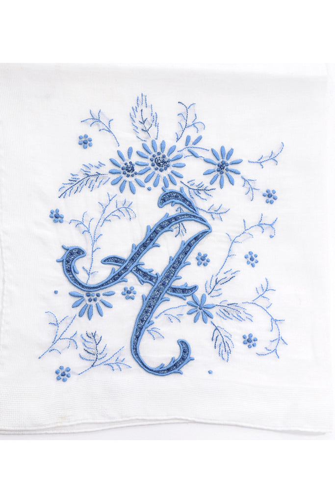 Something Blue Monogrammed Madeira Blue A Vintage Handkerchief