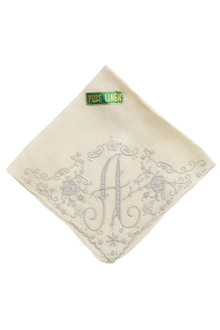 Monogrammed Linen Vintage Handkerchief Letter A New with Tag - Dressing Vintage
