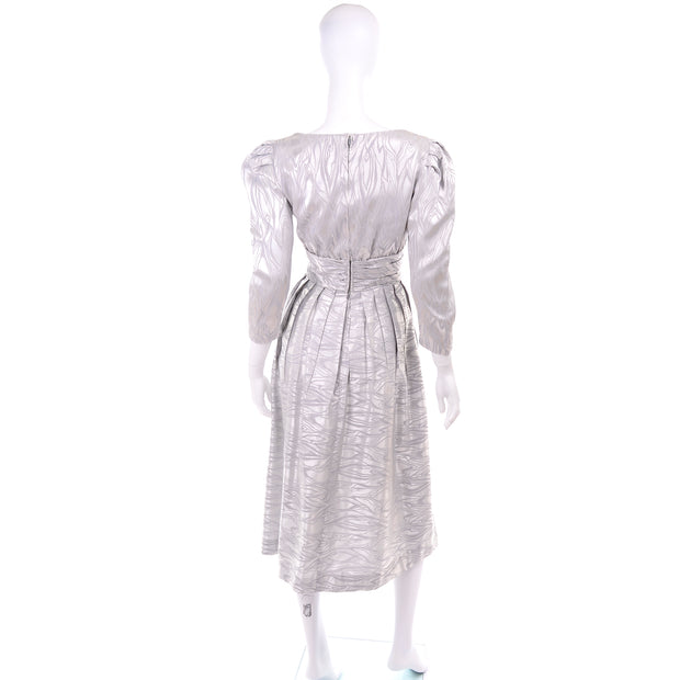 AJ Bari vintage silver dress with puff sleeves