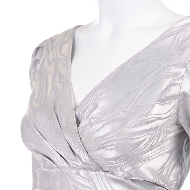 AJ Bari vintage silver dress with gathered puff sleeves 1980s