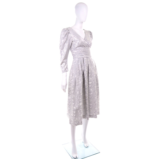 1980s AJ Bari vintage silver dress with puff sleeves