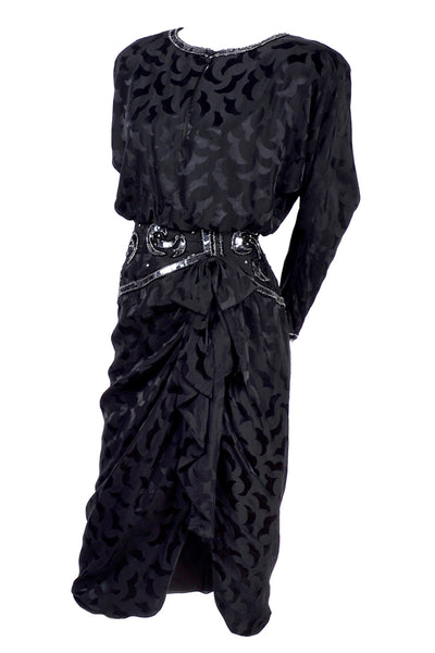 A.J. Bari black silk cocktail dress