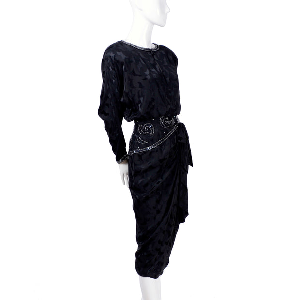 1980's AJ Bari vintage black silk long sleeve dress