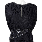 AJ Bari 1980's black silk vintage dress slit front