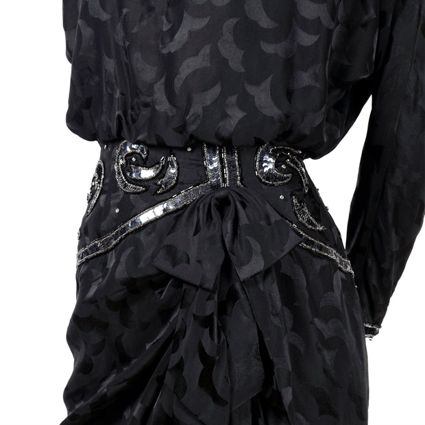 AJ Bari black silk vintage dress with beaded waist and hip