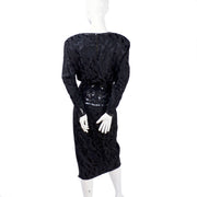 Beaded black silk vintage dress fittted hip