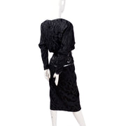 1980's AJ Bari vintage black silk special occasion dress