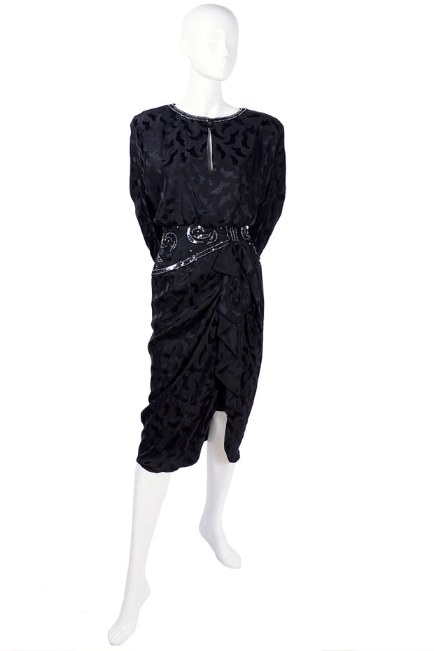 AJ Bari 1980's black tone on tone silk dress