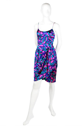 AJ Bari Blue Purple Pink and Teal Dress