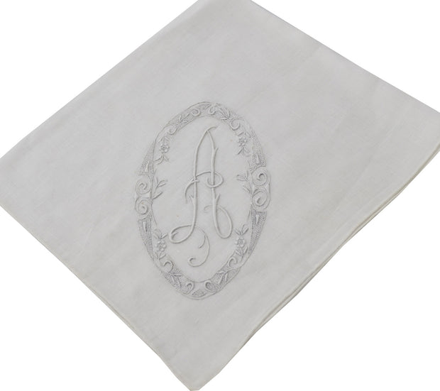 White vintage handkerchief with A monogram and embroidery SOLD - Dressing Vintage