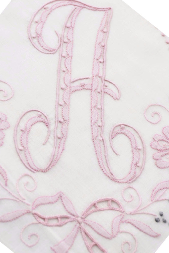 Vintage Madeira Monogrammed Pink Initial A Handkerchief w/Tag - Dressing Vintage