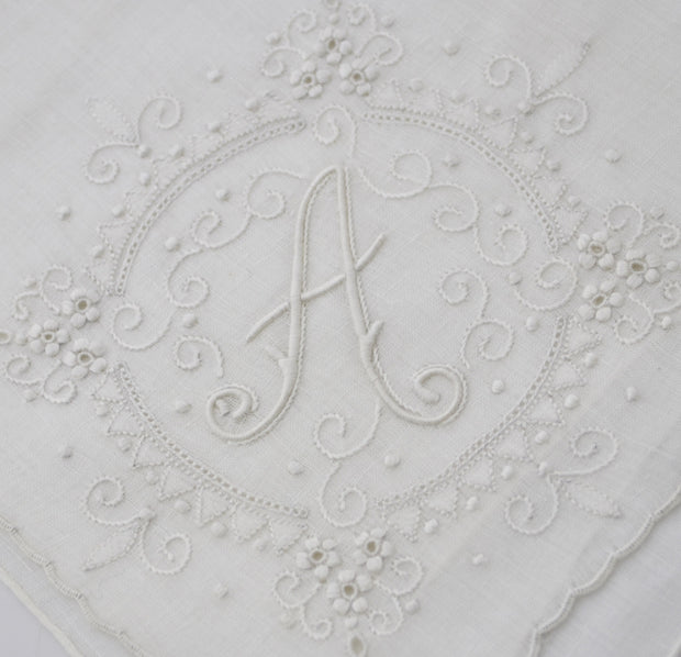 Burmel All White Vintage Monogrammed A Handkerchief with Tag SOLD - Dressing Vintage