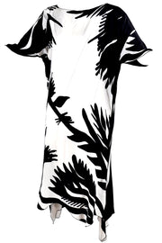 Black and White Botanical Caftan