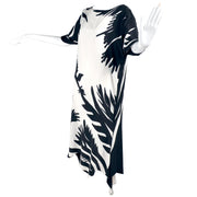Black & White Vintage Caftan Dress w/ High Contrast Abstract Print