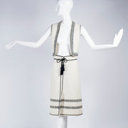 1970's Ivory and black vest and skirt ensemble with tassel belt